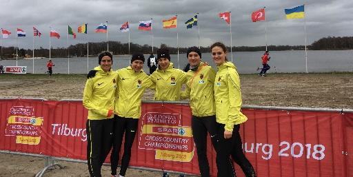 Die Frauenmannschaft bei der Cross EM in Tilburg: Fabienne Amrhein, Elena Burkhard, Hanna Klein, Caterina Granz, Deborah Schöneborn