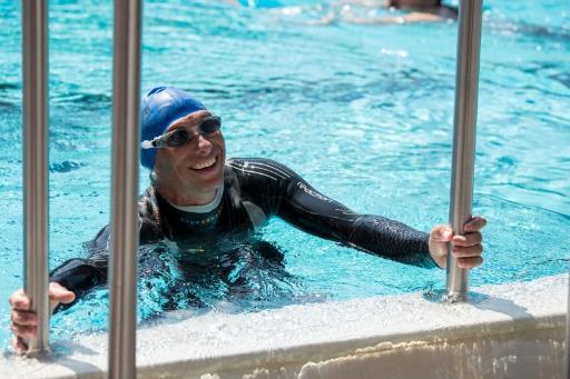 Daniel Meier nach 38 km Schwimmen